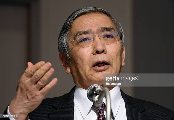 Haruhiko Kuroda, governor of the Bank of Japan , speaks at a meeting hosted by Kyodo News in Tokyo, Japan, on Wednesday, February 3, 2016. Kuroda, in...