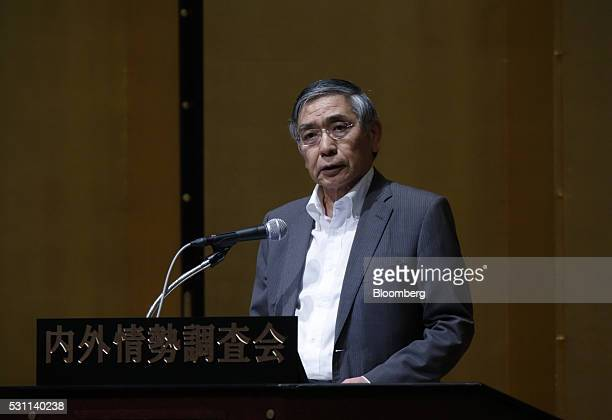 Haruhiko Kuroda governor of the Bank of Japan speaks at a seminar in Tokyo Japan on Thursday May 13 2016 The Bank of Japan's surprise decision to...