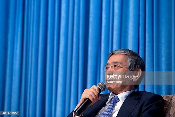Haruhiko Kuroda governor of the Bank of Japan speaks at the Amartya Sen Lecture Series 2015 in Bangkok Thailand on Tuesday July 21 2015 Kuroda is...