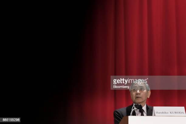 Haruhiko Kuroda governor of the Bank of Japan speaks at the Paris Europlace International Financial Forum in Tokyo Japan on Monday Dec 4 2017 The...