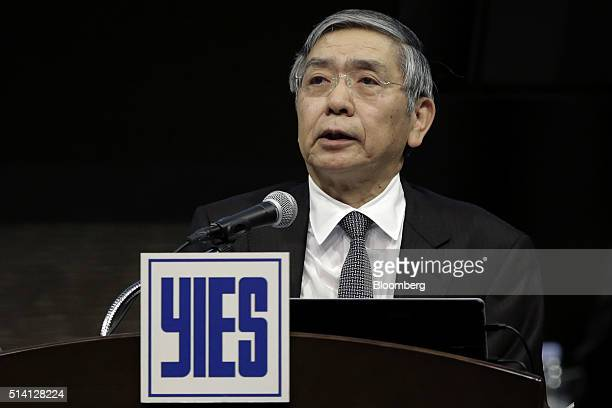 Haruhiko Kuroda governor of the Bank of Japan speaks at the Yomiuri International Economic Society meeting in Tokyo Japan on Monday March 7 2016 It's...