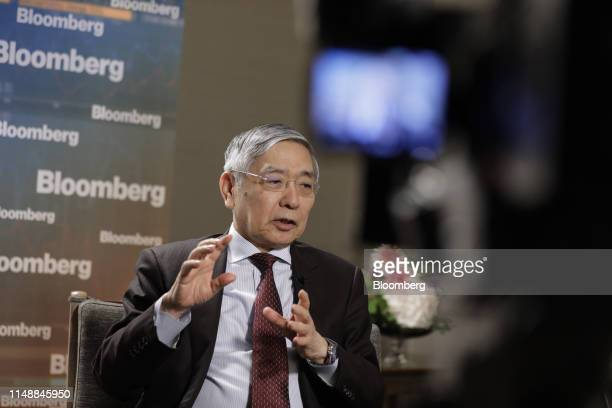 Haruhiko Kuroda, governor of the Bank of Japan , speaks during a Bloomberg Television interview in Fukuoka, Japan, on Monday, June 10, 2019. BOJ can...