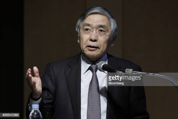 Haruhiko Kuroda, governor of the Bank of Japan , speaks during a keynote speech at an international conference hosted by the Deposit Insurance...