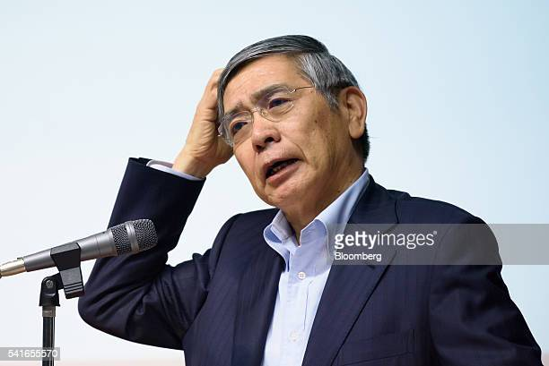 Haruhiko Kuroda governor of the Bank of Japan speaks during a lecture at Keio University in Tokyo Japan on Monday June 20 2016 Changing deflationary...