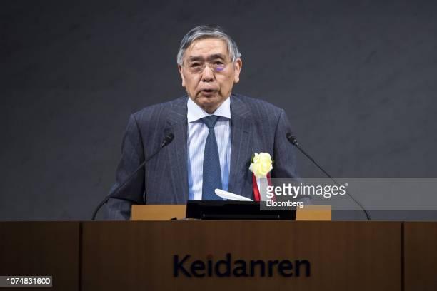Haruhiko Kuroda governor of the Bank of Japan speaks during a meeting with council members of Keidanren or Japan Business Federation in Tokyo Japan...