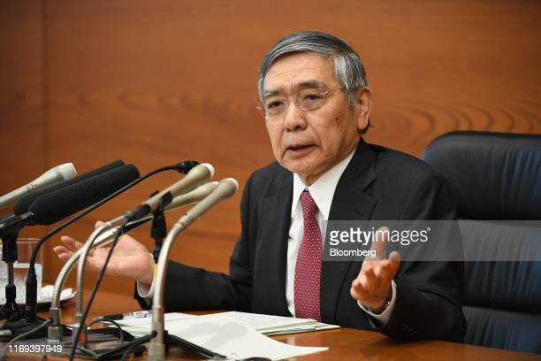 Haruhiko Kuroda, governor of the Bank of Japan , speaks during a news conference at the central bank's headquarters in Tokyo, Japan, on Thursday,...