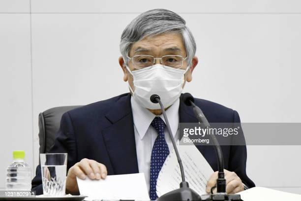 Haruhiko Kuroda, governor of the Bank of Japan , speaks during a news conference at the central bank's headquarters in Tokyo, Japan, on Friday, March...
