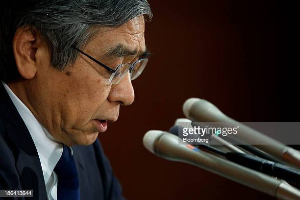 Haruhiko Kuroda governor of the Bank of Japan speaks during a news conference at the central bank's headquarters in Tokyo Japan on Thursday Oct 31...