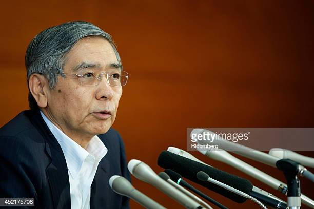Haruhiko Kuroda governor of the Bank of Japan speaks during a news conference at the central bank's headquarters in Tokyo Japan on Tuesday July 15...