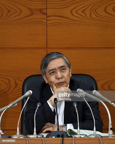 Haruhiko Kuroda governor of the Bank of Japan speaks during a news conference at the central bank's headquarters in Tokyo Japan on Thursday Sept 4...