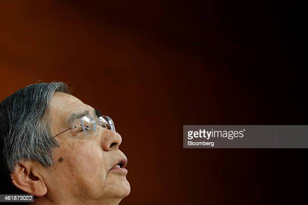 Haruhiko Kuroda, governor of the Bank of Japan , speaks during a news conference at the central bank's headquarters in Tokyo, Japan, on Wednesday,...