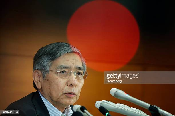 Haruhiko Kuroda governor of the Bank of Japan speaks during a news conference at the central bank's headquarters in Tokyo Japan on Wednesday July 15...