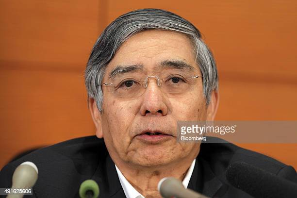 Haruhiko Kuroda governor of the Bank of Japan speaks during a news conference at the central bank's headquarters in Tokyo Japan on Wednesday Oct 7...