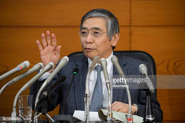 Haruhiko Kuroda, governor of the Bank of Japan , speaks during a news conference at the central bank's headquarters in Tokyo, Japan, on Friday, Dec....