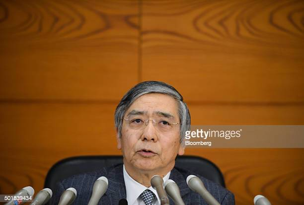 Haruhiko Kuroda governor of the Bank of Japan speaks during a news conference at the central bank's headquarters in Tokyo Japan on Friday Dec 18 2015...