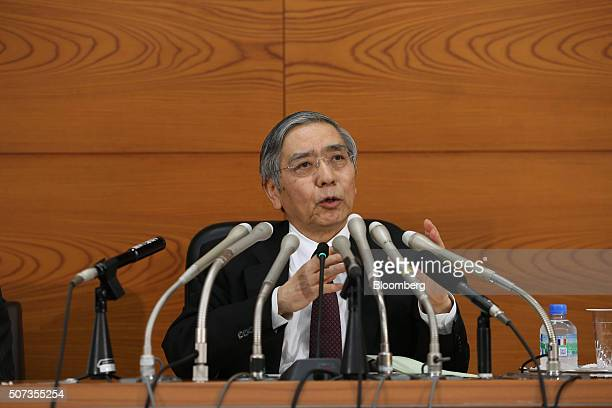 Haruhiko Kuroda governor of the Bank of Japan speaks during a news conference at the central bank's headquarters in Tokyo Japan on Friday Jan 29 2016...