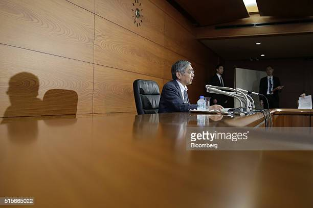 Haruhiko Kuroda governor of the Bank of Japan speaks during a news conference at the central bank's headquarters in Tokyo Japan on Tuesday March 15...