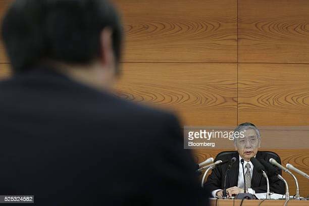Haruhiko Kuroda governor of the Bank of Japan speaks during a news conference at the central bank's headquarters in Tokyo Japan on Thursday April 28...