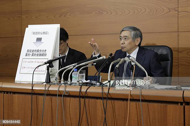Haruhiko Kuroda governor of the Bank of Japan speaks during a news conference at the central bank's headquarters in Tokyo Japan on Wednesday Sept 21...