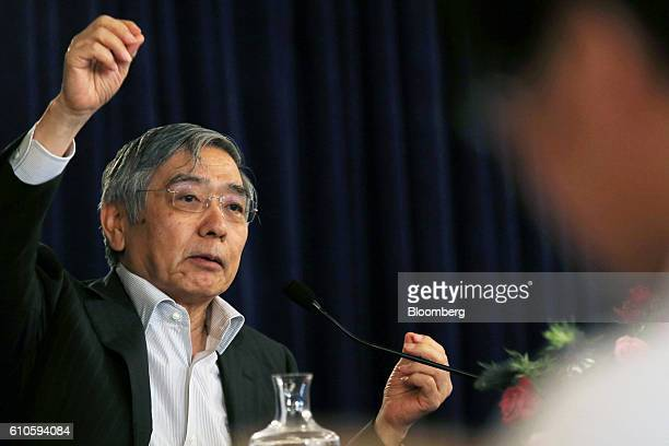 Haruhiko Kuroda governor of the Bank of Japan speaks during a news conference in Osaka Japan on Monday Sept 26 2016 The BOJ board on Wednesday...