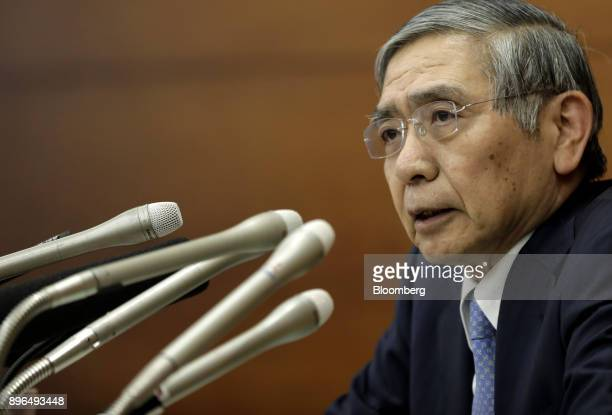 Haruhiko Kuroda governor of the Bank of Japan speaks during a news conference in Tokyo Japan on Thursday Dec 21 2017 Kuroda says bitcoin isnt acting...