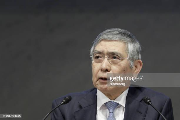 Haruhiko Kuroda, governor of the Bank of Japan , speaks during an event hosted by business lobby Keidanren in Tokyo, Japan, on Thursday, Dec. 24,...
