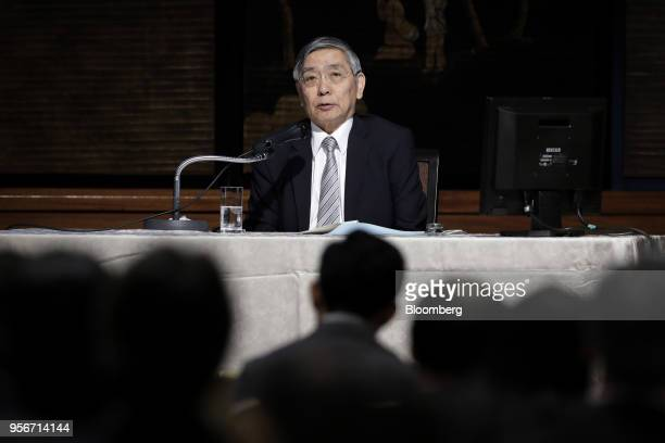 Haruhiko Kuroda governor of the Bank of Japan speaks during an event in Tokyo Japan on Thursday May 10 2018 A summary of opinions from BOJ board...