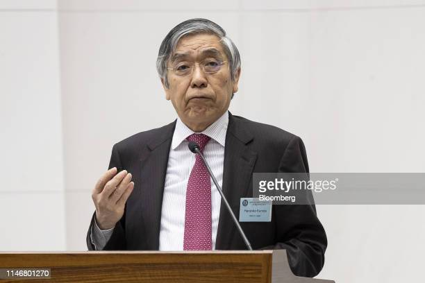 Haruhiko Kuroda governor of the Bank of Japan speaks during the Bank of Japan International Conference in Tokyo Japan on Wednesday May 29 2019...