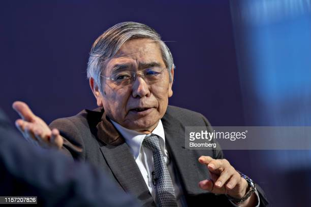 Haruhiko Kuroda, governor of the Bank of Japan , speaks during the Michel Camdessus Central Banking Lecture event at the International Monetary Fund...
