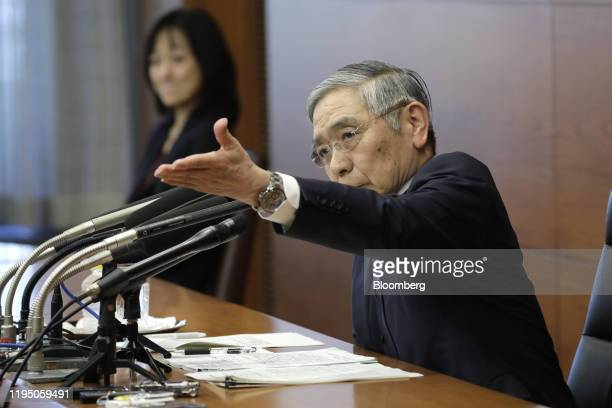 Haruhiko Kuroda, governor of the Bank of Japan , takes a question during a news conference at the central bank's headquarters in Tokyo, Japan, on...