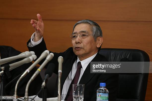 Haruhiko Kuroda governor of the Bank of Japan takes a question during a news conference at the central bank's headquarters in Tokyo Japan on Friday...