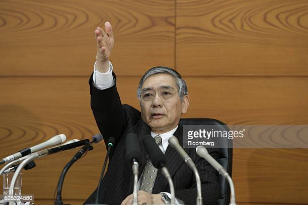 Haruhiko Kuroda governor of the Bank of Japan takes a question during a news conference at the central bank's headquarters in Tokyo Japan on Thursday...