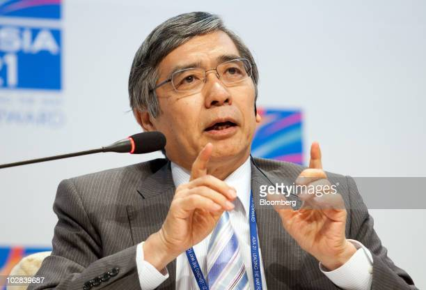 Haruhiko Kuroda, president of the Asian Development Bank, speaks at a conference hosted by South Korea's government and the International Monetary...