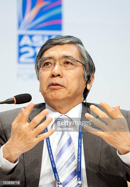 Haruhiko Kuroda president of the Asian Development Bank speaks at a conference hosted by South Korea's government and the International Monetary Fund...