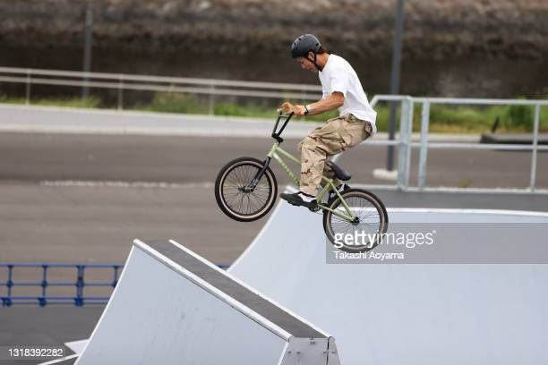 Haruhiko Owa competes in the Men's Seeding Run during the Cycling BMX Freestyle test event at the Ariake Urban Sports Park on May 17, 2021 in Tokyo,...