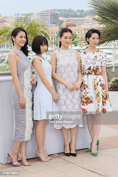 Haruka Ayase Suzu Hirose Masami Nagasawa and Kaho attend the 'Notre Petite Soeur' photocall during the 68th annual Cannes Film Festival on May 14...
