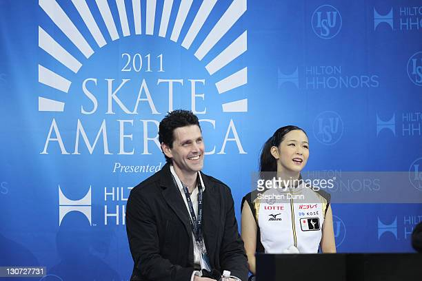 Haruka Imai of Japan sits with coach Jason Dungjen after performing in Ladies Free Skating during Hilton HHonors Skate America at Citizens Business...