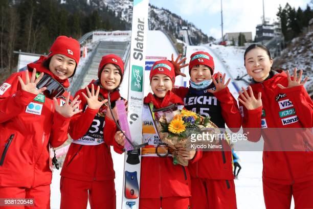 Haruka Iwasa Kaori Iwabuchi Sara Takanashi Yuki Ito and Yuka Seto of Japan pose after the women's ski jumping World Cup final in Oberstdorf Germany...