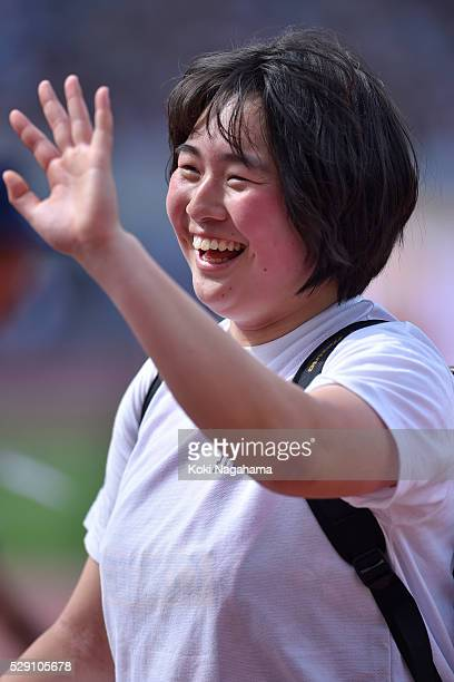 Haruka Kitaguchi celebrates breaking a new National Junior Record of 61.38m in the Women's Javelin during the SEIKO Golden Grand Prix 2016 at...