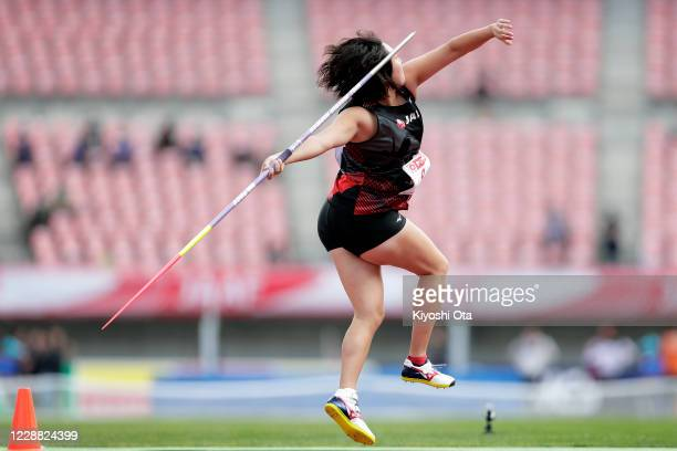 Haruka Kitaguchi competes in the Women's Javelin Throw final on day one of the 104th JAAF Athletics Championships at Denka Big Swan on October 1,...