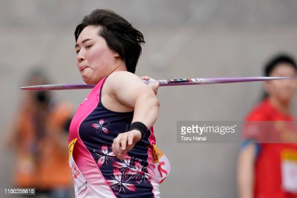 Haruka Kitaguchi of Japan competes in the Women's Javelin Throw during the Seiko Golden Grand Prix at Yanmar Stadium Nagai on May 19, 2019 in Osaka,...