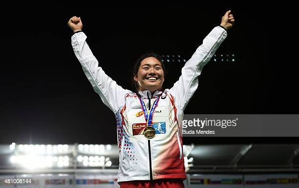 Haruka Kitaguchi of Japan, gold medal, celebrates on the podium after the the Girls Javelin Throw Final on day two of the IAAF World Youth...