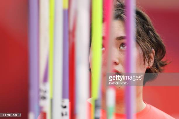 Haruka Kitaguchi of Japan looks on prior to competing in the Women's Javelin qualification during day four of 17th IAAF World Athletics Championships...