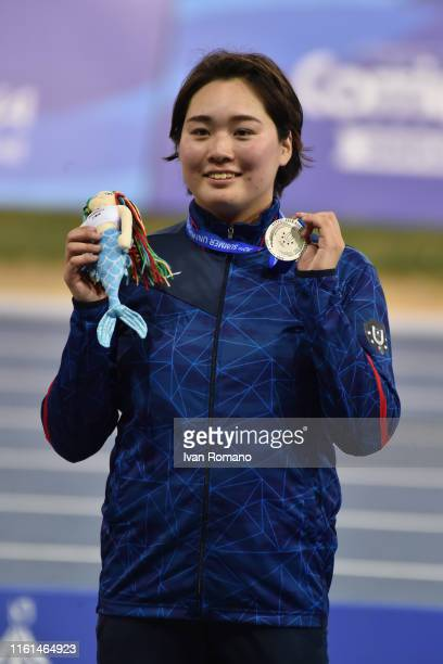 Haruka Kitaguchi of Japan poses with her silver medal at Women's Javelin Throw Final podium during day three of the 2019 Summer Universiade on July...