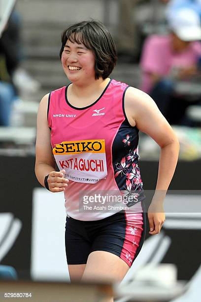 Haruka Kitaguchi of Japan smiles as she breaks the Japa Junior record in the Women's Javelin Throw during the SEIKO Golden Grand Prix 2016 at...