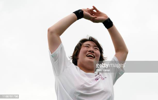 Haruka Kitaguchi reacts as she talks with her corch in the Women's Javelin Throw final on day two of the 103rd JAAF Athletics Championships at...