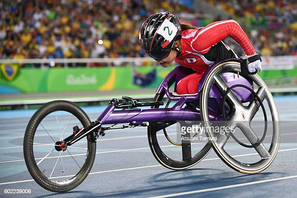Haruka Kitaura of Japan competes in the women's 100m T34 final on day 3 of the Rio 2016 Paralympic Games at Olympic stadium on September 10 2016 in...