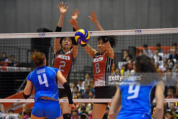 Haruka Miyashita and Sarina Koga of Japanblocks the ball during the Women's World Olympic Qualification game between Japan and Italy at Tokyo...