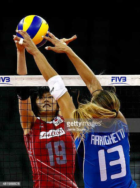 Haruka Miyashita of Japan and Valentina Arrighetti of Italy battle for the ball during the final round match against Japan on day 4 of the FIVB...