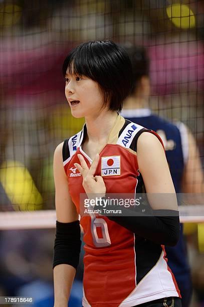 Haruka Miyashita of Japan directs her team mate during day four of the FIVB World Grand Prix Sapporo 2013 match between Japan and China at Hokkaido...